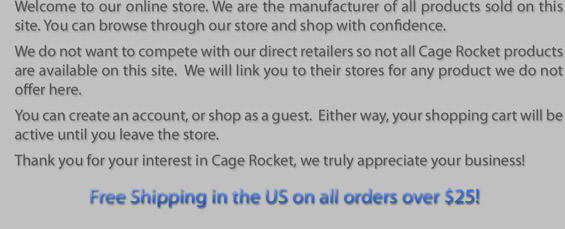 Cage Rocket Store Welcome Message